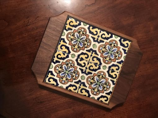 Custom Made Walnut Trivet W/ Wenge Inlay And Repurposed Tiles