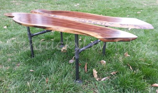 Custom Made Wood And Metal Coffee Table, Industrial Coffee Table, Live Edge Coffee Table, Walnut Coffee Table