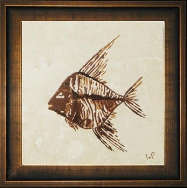 Custom Made Hand-Painted Fish Fossil Tiles