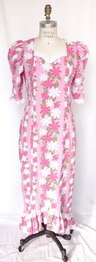 Custom Made Pink Muumuu With 3/4 Sleeves And Accented With Eyelet Lace