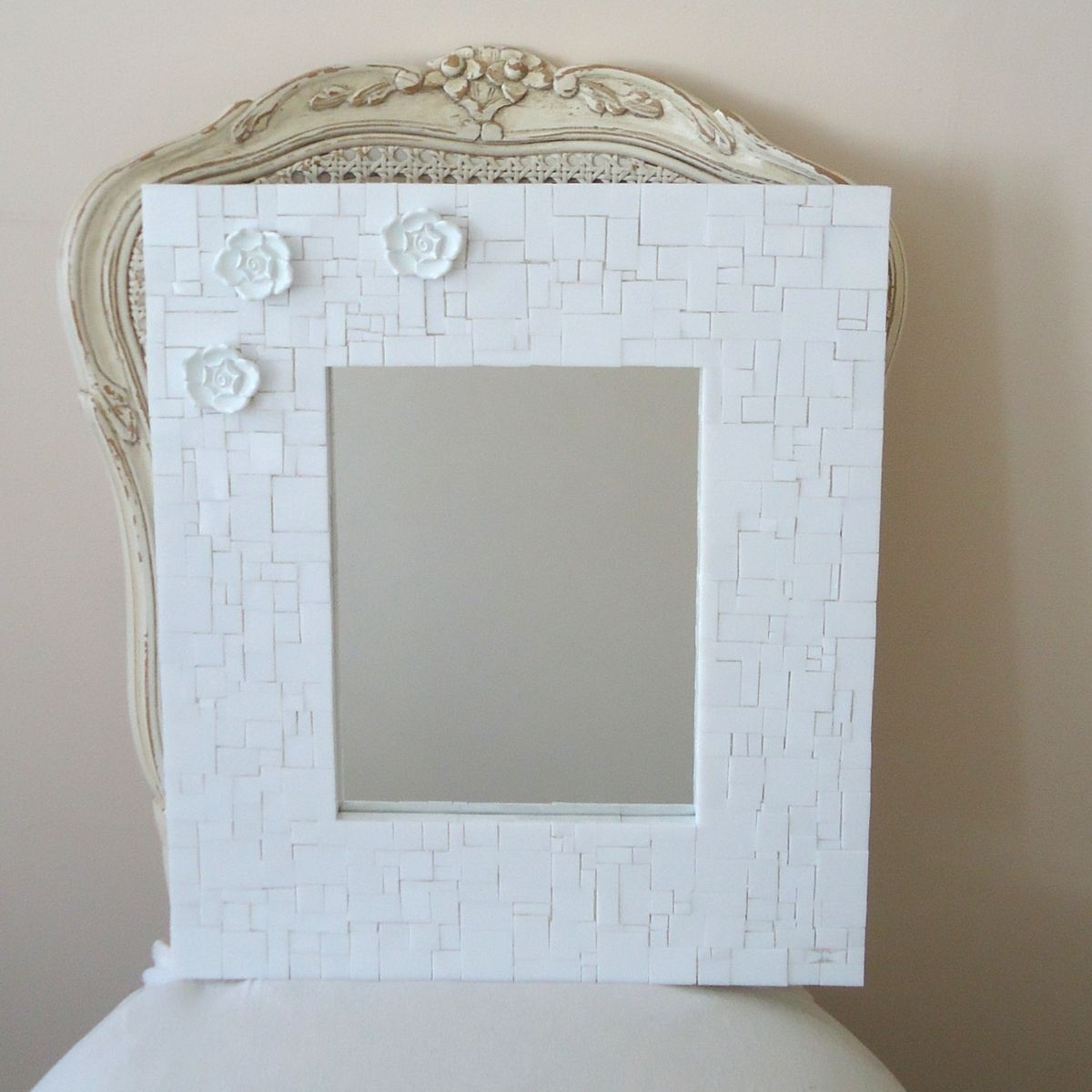 Buy Custom Made Mosaic Decorative White Wall Mirror With 3 Flowers