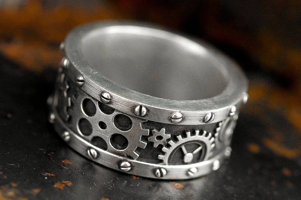 custom made steampunk industrial gear ring - Steampunk Wedding Rings