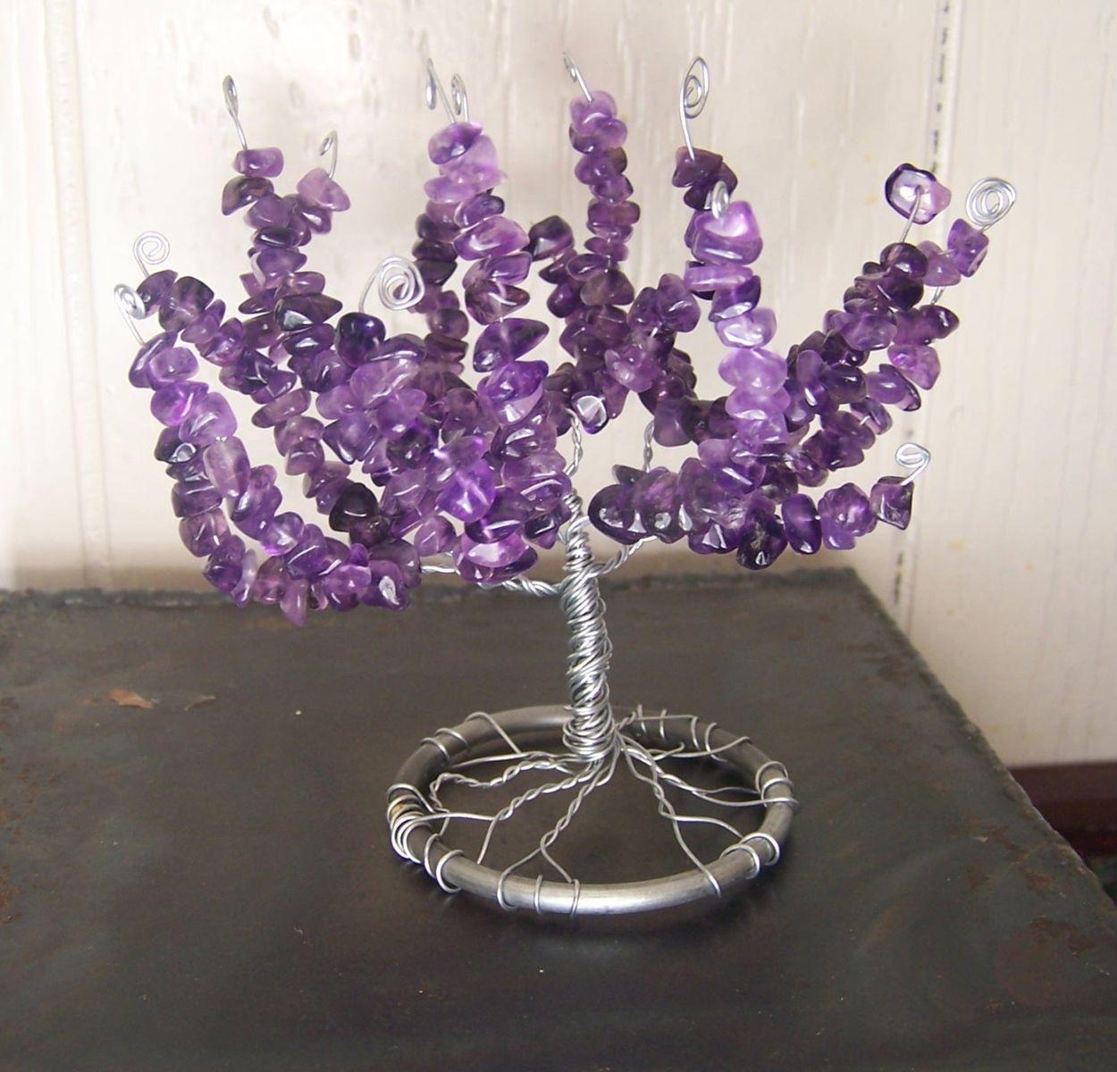 Hand Made Amethyst Gemstone Tree Of Life Sculpture