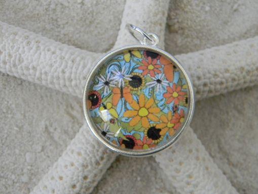 Custom Made Round Glass Silver Plated Double Side Dome Cabochon Pendant