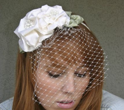 Custom Made Flower Headband With Big Silk Flowers And A Birdcage Veil