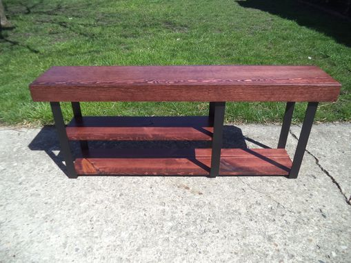 Custom Made Bench, Farmhouse Style Bench With 3 Legs And 3 Shelves