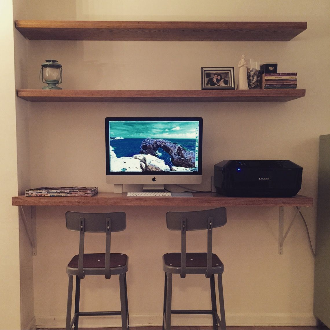 Custom Made Floating Shelves And Desk