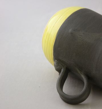 Custom Made Ceramic Coffee Mug In Graphite Gray And Lemon Yellow