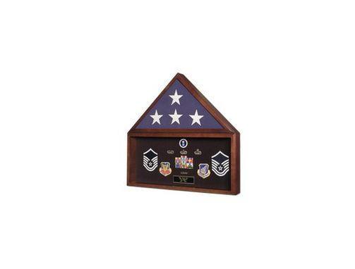Custom Made Burial Flag And Medal Display Case, Flag And Document Holder