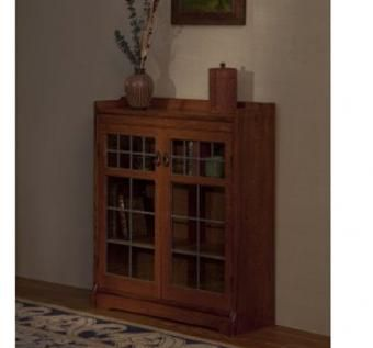 Custom Made Bookcase With Leaded Glass Doors