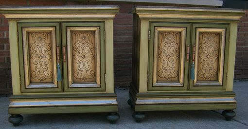 Custom Made Hand Painted Mixed Media Nightstands