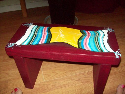 Custom Made Multi-Use, Small Stool Handpainted With Indian Blanket