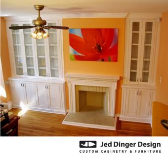 Custom Made Custom Bookcases And Fireplace Mantel