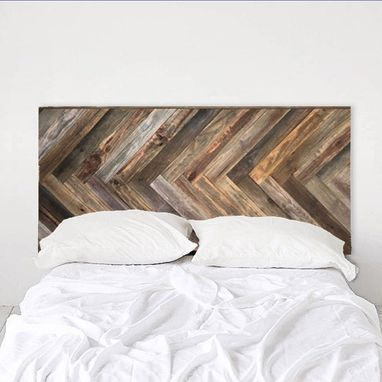 Custom Made Rustic Headboard - Herringbone Hardwood