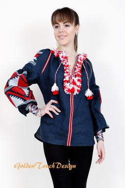 Custom Made Chicnationale,  Boho Blouse Ukrainian Embroidered  Vita Kin Style