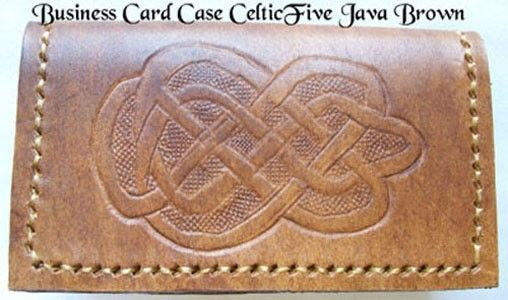 Custom Made Custom Leather Business Card Case With Celtic 5 Design And In Java Brown Color