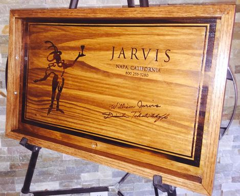 Custom Made Wine Panel Jarvis Serving Tray Handmade Napa Panels And White American Oak.