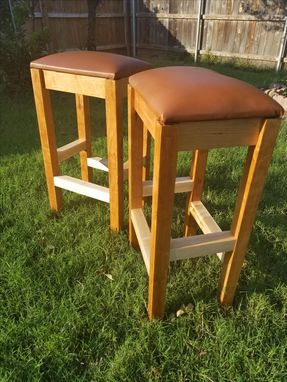 Custom Made Farmstyle Cherry And Maple, Leather Seat Barstools