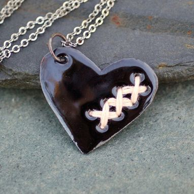 Custom Made Valentine Jewelry Mended Broken Enamel Heart Pendant Necklace Copper Enameled Sewn Black Peach