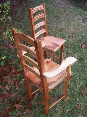 Custom Made Arched Slat Yellow Pine Dining Room Chairs