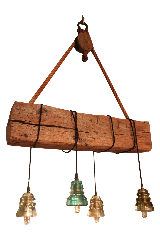 Custom made reclaimed barn wood beam chandelier vintage insulator lights