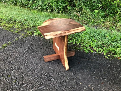 Custom Made George Nakashima Style Live Edge Walnut Side Table