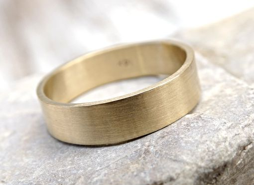 Buy A Hand Made Solid 14k Gold Mens Wedding Ring Flat Band