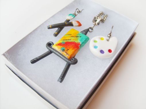 Custom Made Painters Palette & Paintbrush Earrings - Miniature Canvas And Easel Polymer Clay