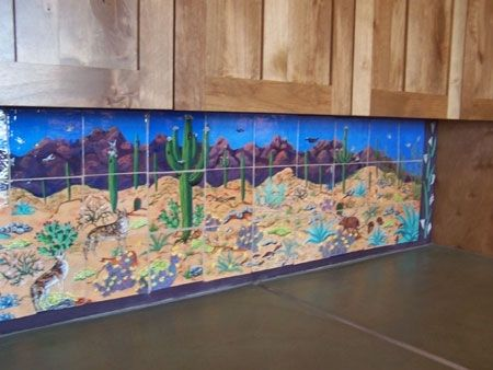 Custom Made Back Splash Mural Hand Painted On Ceramic Tile Panels