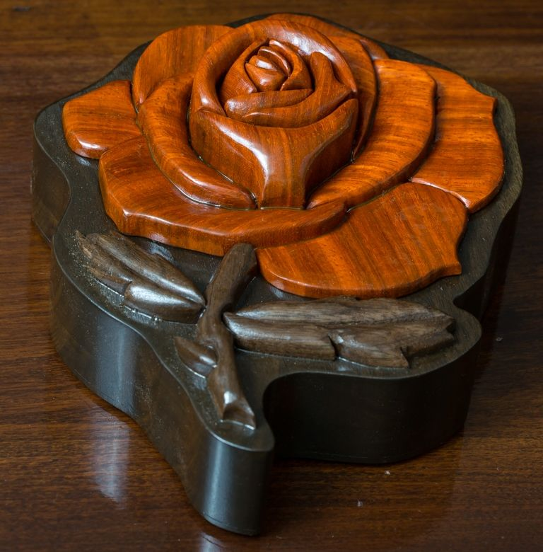 custom made intarsia rose jewelry box by delta black custom woodworking. Black Bedroom Furniture Sets. Home Design Ideas