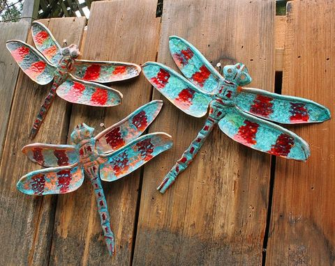 Custom Made Patinated Copper Dragonfly Sculpture