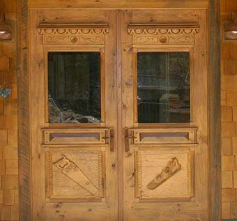 Custom Made Solid Wood Hand Carved Double Door With Transom