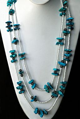 Custom Made Styled In Native American Indian Tradition,A Bright Blue Turquoise Slices With Silver & White Heishe