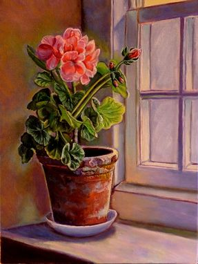 "Custom Made Oil Painting ~ ""Soaking Up The Sun"" - Geranium"