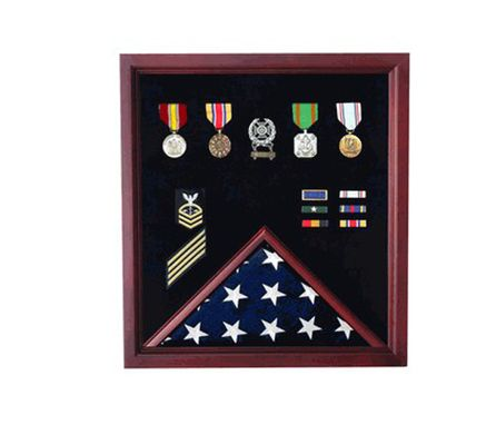Custom Made Extra Large Flag And Medal Display Case