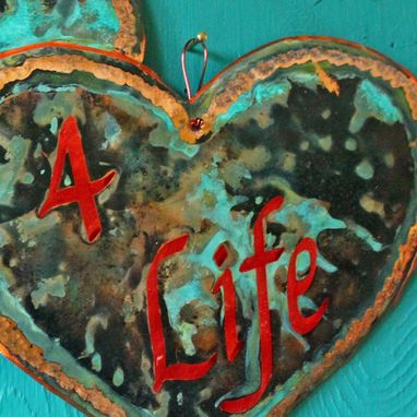 Custom Made Personalized Copper Plaque With Twin Hearts Design