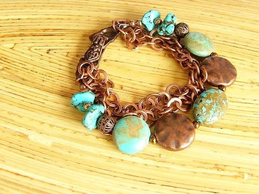 Custom Made Unique Copper And Turquoise Bracelet