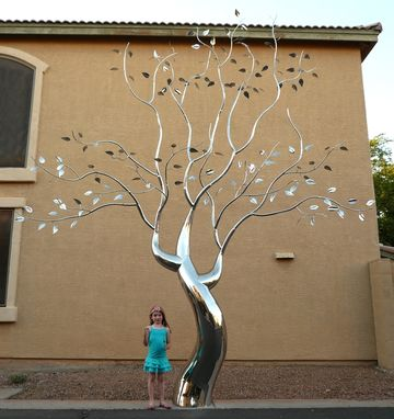 "Custom Made Stainless Steel Tree Sculpture, ""Evolution Of Flora"""
