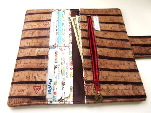 Custom Made Handmade Women Wallet Brown Measuring Tape Small Flowers Ready To Ship