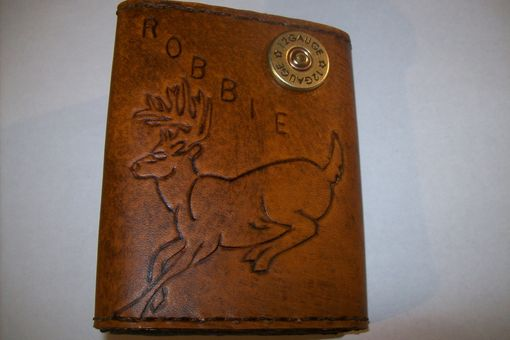 Custom Made Custom Leather Imperial Trifold Wallet With Deer