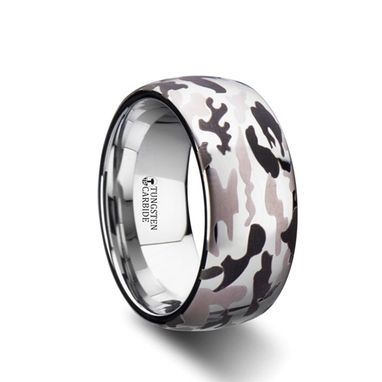 Custom Made Battalion Domed Tungsten Carbide Ring With Black And Gray Camo Pattern - 6mm - 10mm