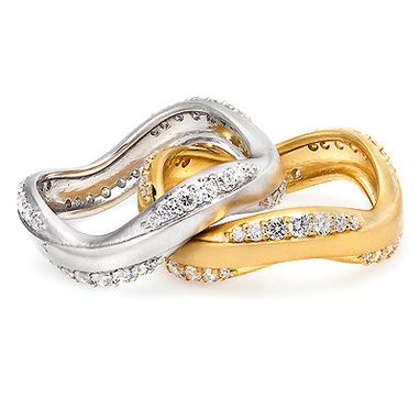 Custom Made Thin Luccello Designer Diamond Ring Set