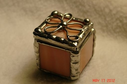Custom Made 1 X 1 X 1 Tiny Ring Stained Glass Box In Creamy Orange And White
