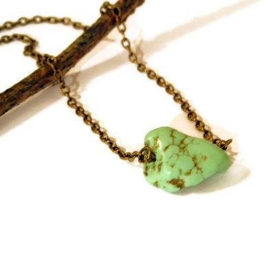 Custom Made Green Howlite Nugget Necklace