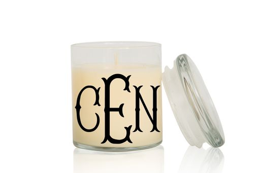 Custom Made Monogram Candle | Font: Fancy Fishtail | Large Creme Brulee/Vanilla Scented Candle