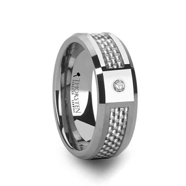 Custom Made Royce Tungsten Carbide Ring With White Carbon Fiber And White Diamond - 8mm