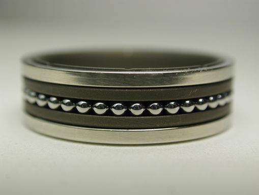 Custom Made Titanium And 14k White Gold Ring With Rolling Stainless Balls