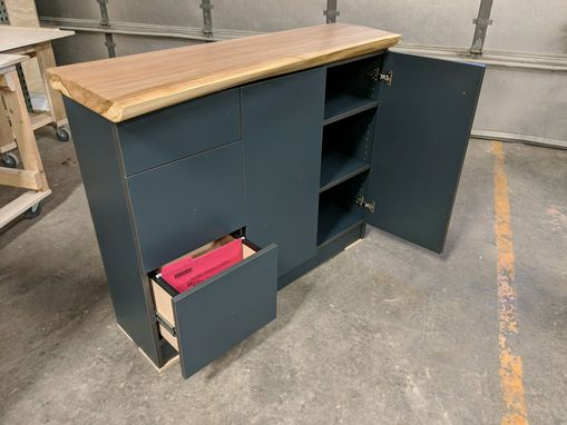 Custom Made Oak Live-Edge Electric, Adjustable, Sit/Stand Desk With Matching Credenza