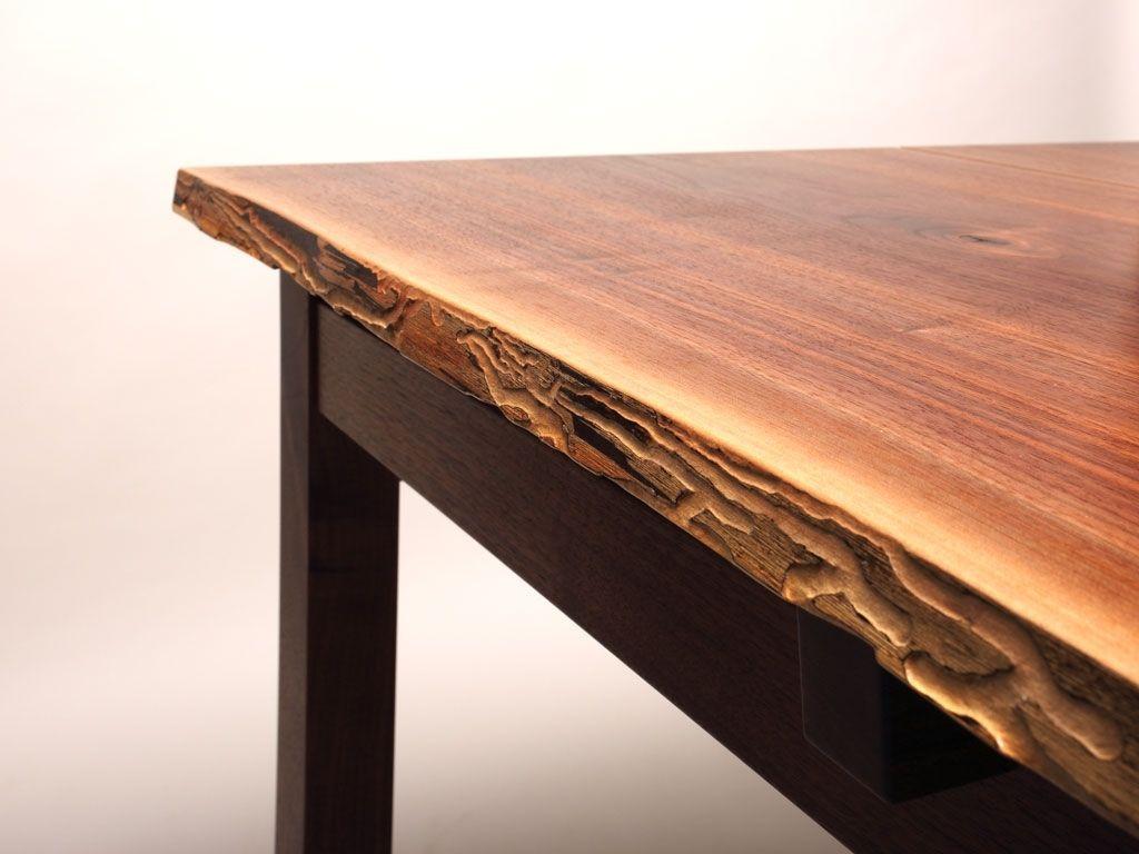 Custom Made Natural Edge Black Walnut Desk Table