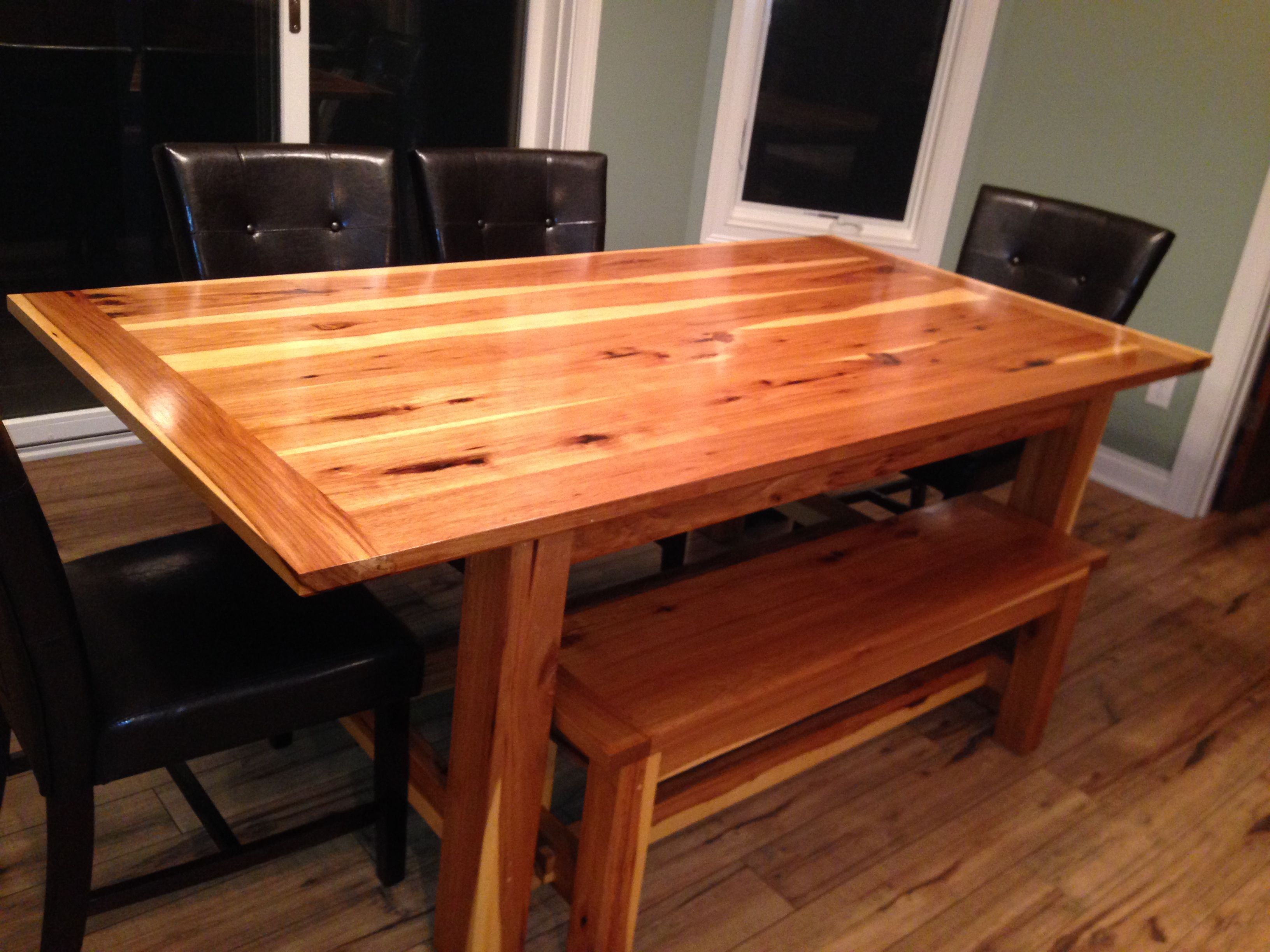 Custom Made Hickory Farm Table With Matching Bench by Black Swamp